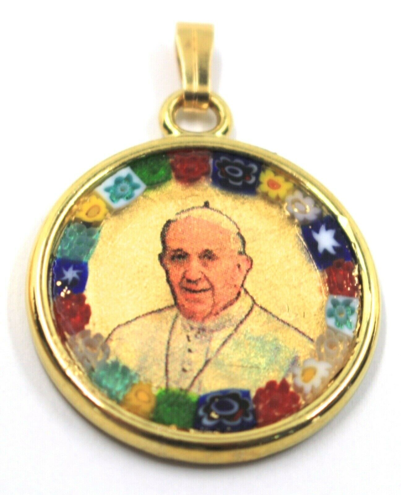 "MURANO GLASS ROUND MEDAL PENDANT, POPE FRANCIS, FRANCESCO, 25mm 1"", FLOWER FRAME"