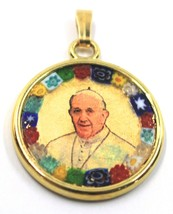 "MURANO GLASS ROUND MEDAL PENDANT, POPE FRANCIS, FRANCESCO, 25mm 1"", FLOWER FRAME image 1"
