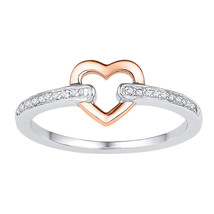 10kt Two-tone Gold Womens Round Diamond Heart Ring 1/20 Cttw - $179.00