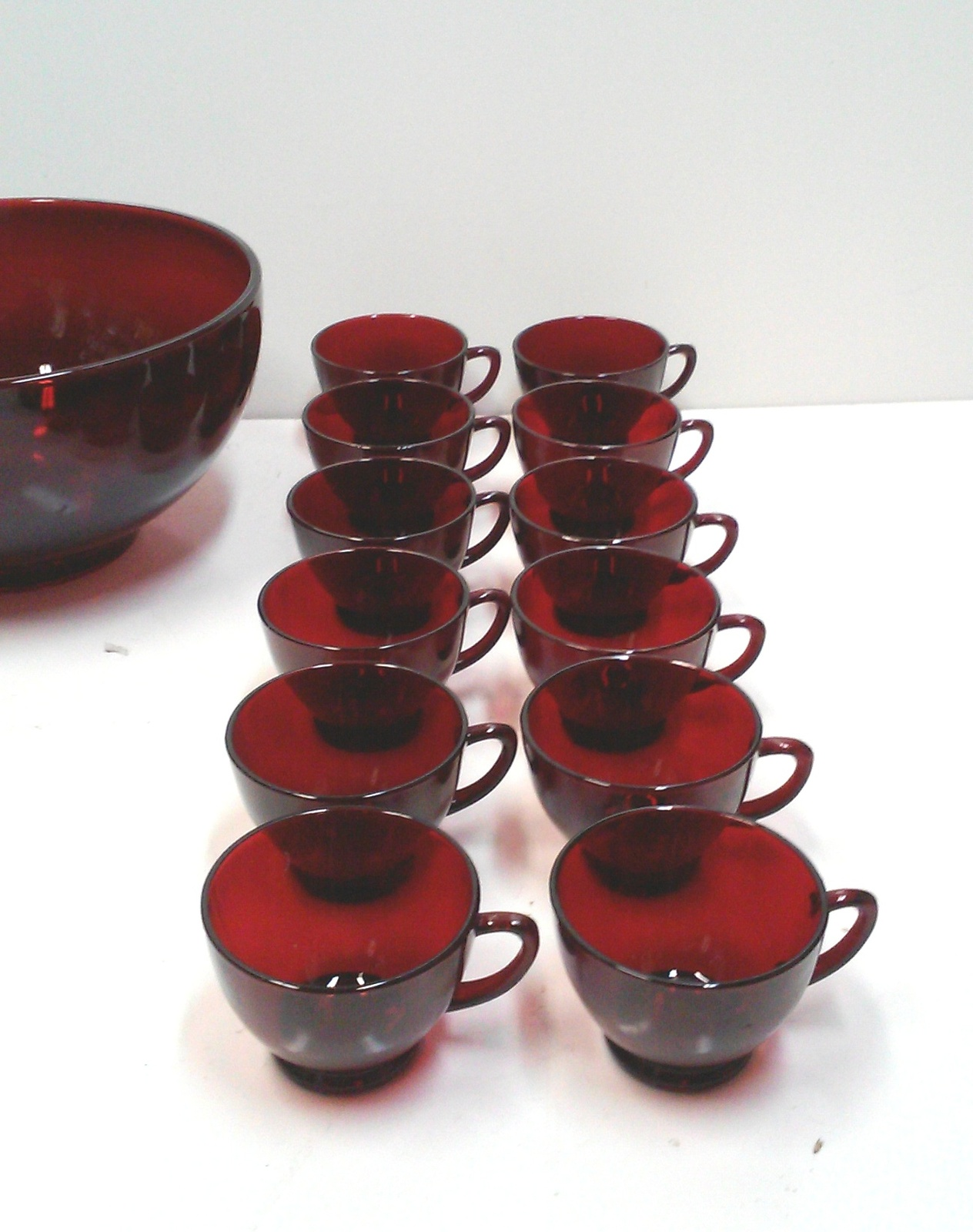 Vintage Red Glass Punch Bowl and Cups Set of 25
