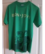 T-Shirt 2007 - 2008 Bon Jovi Concert World Tour S Small Green Cotton Pol... - $16.99