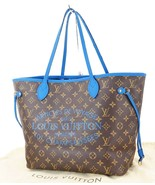 Authentic LOUIS VUITTON Neverfull MM Monogram Blue Ikat Tote Bag Purse #... - $1,851.55