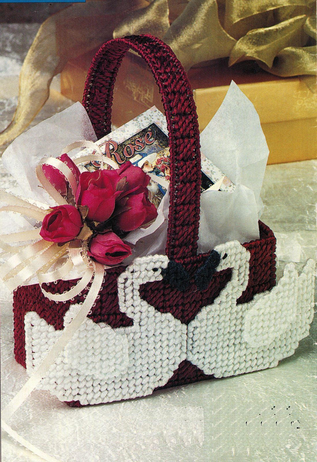 Primary image for Plastic Canvas Valentine Sweetheart Gift Love Basket Coaster Rose Box Patterns