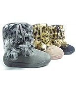 Girls Boots Toddler Kids Baby Winter Animal Print Faux Fur Pom Poms Size... - $17.84