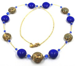 """LONG NECKLACE BLUE YELLOW MURANO GLASS DISC GOLD LEAF, 70cm, 27.5"""" ITALY MADE image 1"""