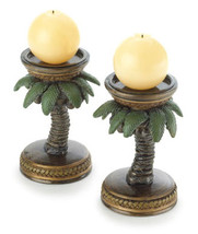 Two (2) round coconut palm tree oasis tropical patio deck table candle h... - $18.00