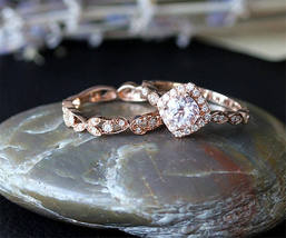 Engagement Halo Bridal Ring Set Oval Cut AAA Morganite 14K Rose Gold Over Silver - $124.79