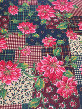 Red Poinsettia Cotton Fabric Patchwork Plaid Check Background Quilt Sew ... - $237,34 MXN