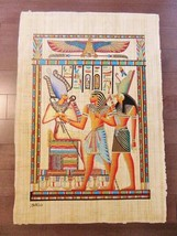 "XXL Huge Signed Handmade Papyrus Egyptian Kings Art Painting....38"" x 26... - $74.25"