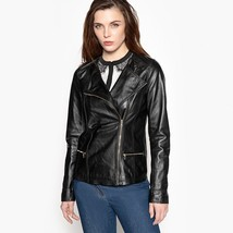 New Asymmetric Front Soft Genuine Leather Biker Jacket For Women's