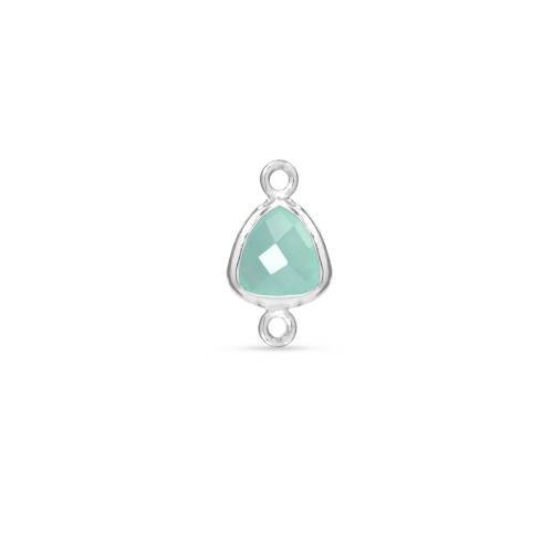 Primary image for Bezel Connector,  Aqua Chalcedony Triangle,  Sterling Silver, 9mm, 1pc (9487)/1