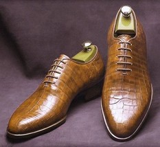 Handmade Men's Brown Crocodile Texture Leather Oxford Shoes image 3