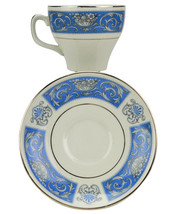 6 Person Vintage Floral Retro English Saucer Cup Tea Set Blue China Eleg... - $52.44