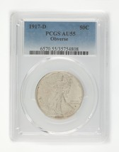 1917-D 50C Obverse Graded by PCGS as AU-55! Great Rare Variety Half Dollar! - $618.74