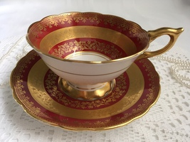 Royal Stafford Bone China Tea Cup and Saucer, Red with Heavy Etched Gold... - $50.00