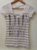 American Eagle Outfitters Graphic V-NECK White Gray Striped T-SHIRT Xs - $7.95