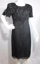 Mujer Vestido Vintage Cuentas Ropa de Noche Manga Corta Negra Talla M - $31.50