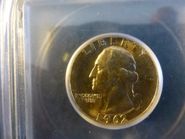 1962 RARE GEORGE WASHINGTON QUARTER GRADED MS 67 BY ICG - $297.00