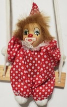 """Creepy Porcelain Head Clown On a Swing 6"""" Unbranded Red & White Suit - $16.82"""