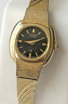 "Vintage Ladies CITIZEN Quartz Black Face 0.5"" D Gold Tone Band 6"" Wristw... - $31.18"