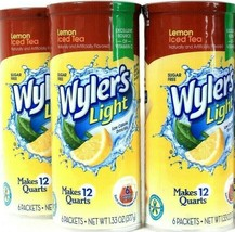 3 Packs Wyler's 1.33 Oz Light Lemon Iced Tea Sugar Free 6 Count Pitcher ... - $19.99