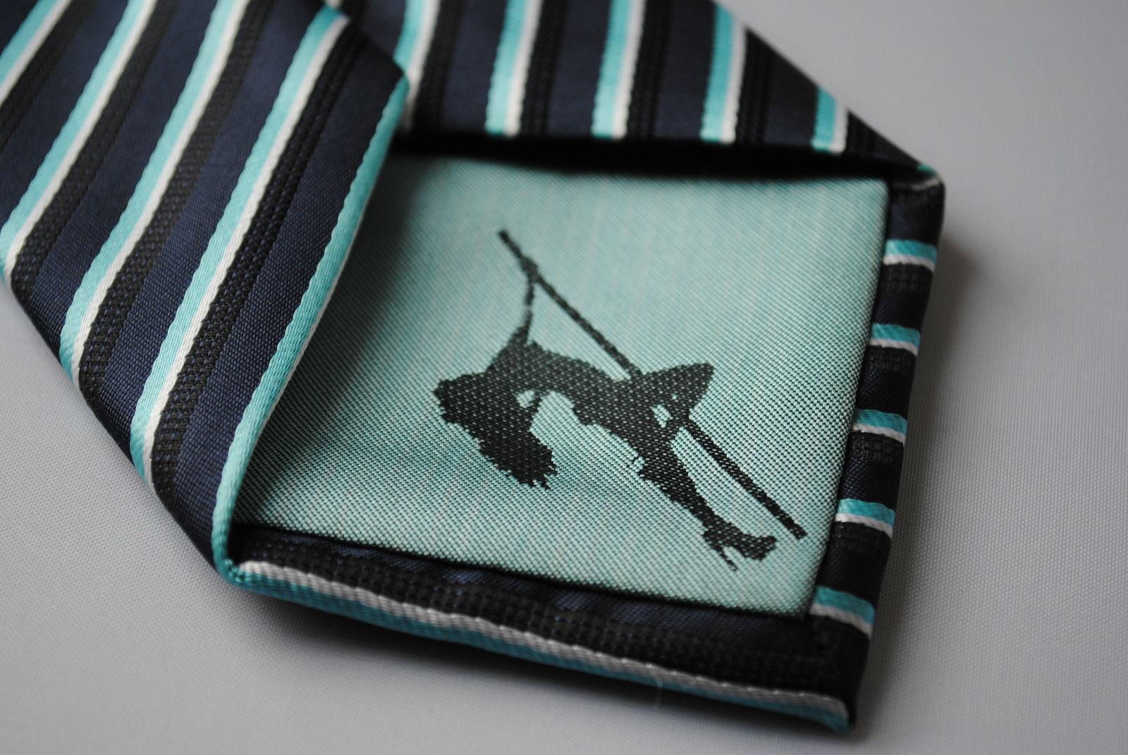 marineblau türkis & weiß gestreift Herren Stangentanz Krawatte von