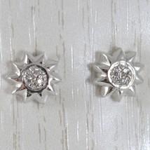 Boucles D'Oreilles or Blanc 750 18K A Lobe, avec Soleil et Zirconia, Baggy 9 MM image 1
