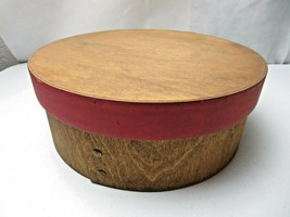 Vintage large heavy made Wood Round box Mid Century Modern Deco - $39.00