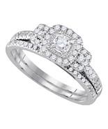 14k White Gold Round Diamond Bridal Wedding Engagement Ring Band Set 1/2... - £582.42 GBP