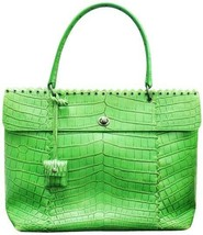 Bottega Veneta Bag Bright Green Crocodile Skin Leather Tote - $2,079.00