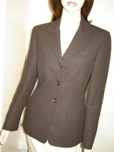 ANNE KLEIN Dark Brown Stitched Pinstripe Dress Jacket 4 - $44.00