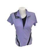 Adidas Women's Purple Half Zip Fitted Athletic Top Jersey Built In Bra S... - $18.55