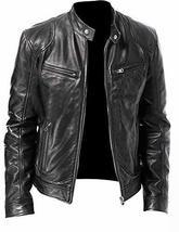 Mens Motorcycle Vintage Cafe Racer Retro Black Biker Leather Jacket image 1