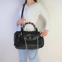 Gucci Black Leather Bamboo Top Handle Bag - $999.00