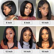 Short Bob Human Hair Wigs Brazilian Straight Virgin Human Hair Lace Front Wigs H image 6