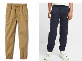 Gap Kids Boys Brown Khaki Indigo Blue Cotton Elastic Waist Canvas Jogger Pants 8 - $24.99