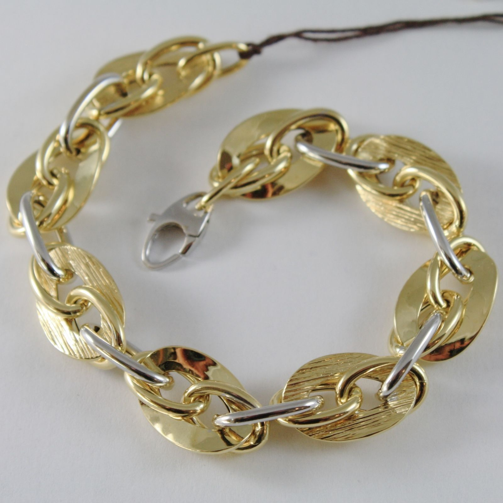 18K YELLOW WHITE GOLD BRACELET DOUBLE BIG OVAL WORKED ROPE LINK, MADE IN ITALY
