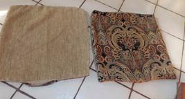 Pair of Black Gold Victorian Print Decorative Print Throw Pillows  19 x 19 - $49.95