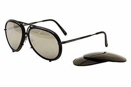 Porsche Design Men's P'8613 P8613 Black Frame Brown/Silver Mirror Sungla... - $251.23