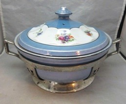 Vintage Art Deco Excello covered baking caserole dish, stand. Lustreware - $44.09