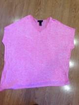 EUC Womens Plus Lane Bryant Hot Pink Short Sleeves Shirt Top Rayon 22 24 XXL - $19.26