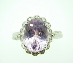 14k Gold Oval 6.95ct Genuine Natural Kunzite Ring with Diamond Halo (#J4453) - $1,325.00