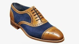 Handmade Men Two Tone Heart Medallion Leather & Suede Dress/Formal Oxford Shoes image 1