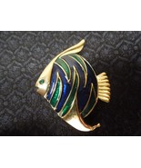Vintage GERRY's Gold Tone Enamel Angel Fish Pin Brooch - £16.35 GBP