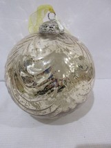 "Large 6.5"" Kugel Style Mercury Gold Glass Christmas Holiday Hanging Orna... - $23.74"