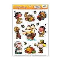 1 Sheet THANKSGIVING Party Decoration WINDOW CLINGS LITTLE PILGRIMS - £13.28 GBP