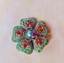 Vintage Brooch Pin  Fashion Jewelry Green and Topaz rhinestones flower p... - $5.23