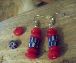Vintage Chevron & Red Glass Trade Bead Earrings Earwires Marked 925 Sliver  - $12.86