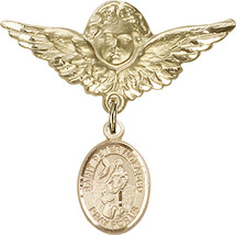 14K Gold Filled Baby Badge with St. Peter Nolasco Charm Pin 1 1/8 X 1 1/... - $107.08