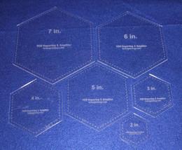"6 Piece Hexagon -Laser Cut Quilt Templates- Clear Acrylic 1/8"" - $33.95"